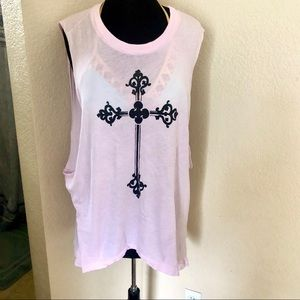 WILDFOX PINK W/CROSS TUNIC/COVER-UP